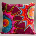 Batik velour pillow. Jill Miller, Hooey Batiks (http://hooeybatiks.com/).